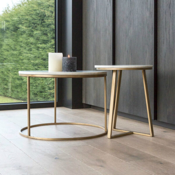 marble gold side table pyra