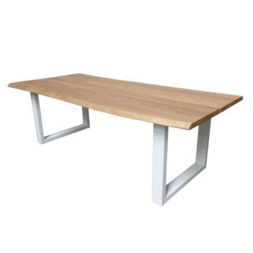natural wood white iron base dining table