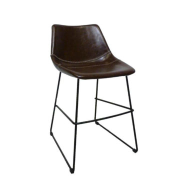brown faux leather counter chair