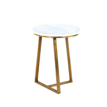 pyra small marble gold side table