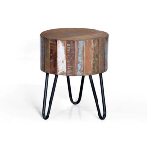 reclaimed wood iron side table