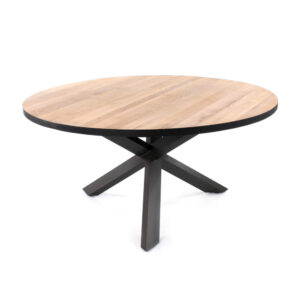 round wood iron dining table