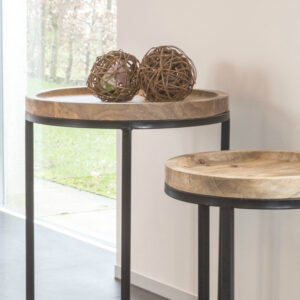 simba wood iron side table set
