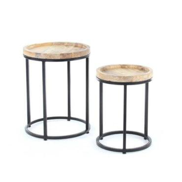 simba wood iron side table set